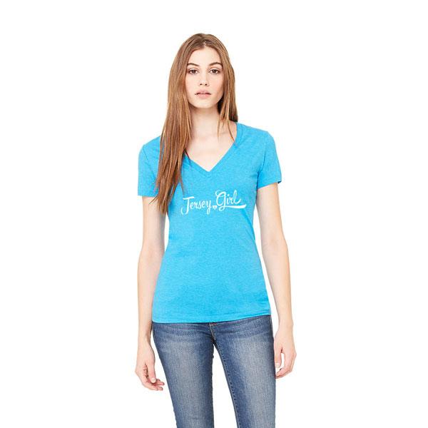 Jersey Girl Ladies T-shirt design, aqua v-neck