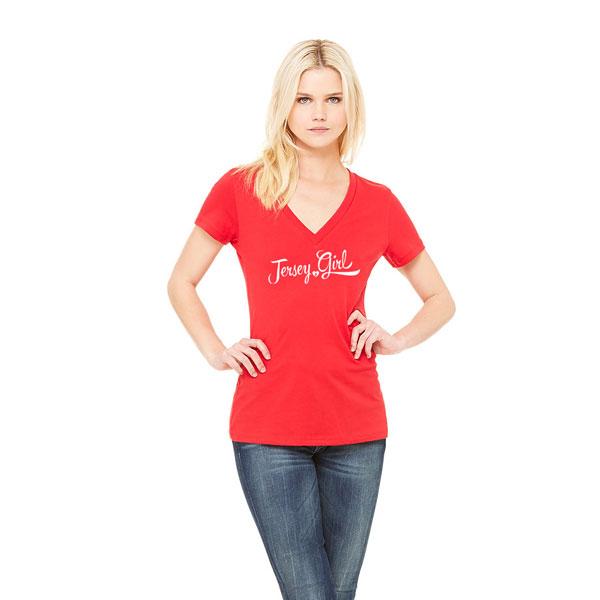 Jersey Girl Ladies T-shirt design - Red V-neck
