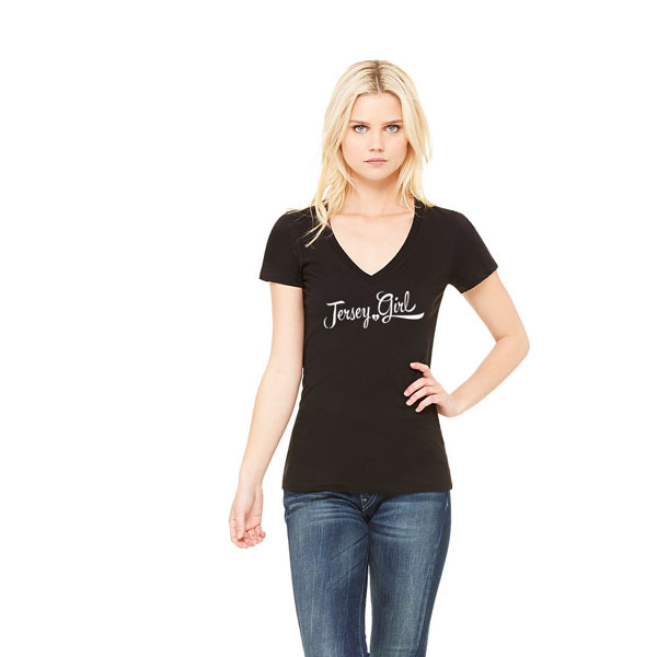 Jersey Girl Ladies T-shirt design, Black v-neck