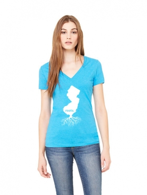 Jersey Roots Ladies T-shirt design - Aqua V-neck