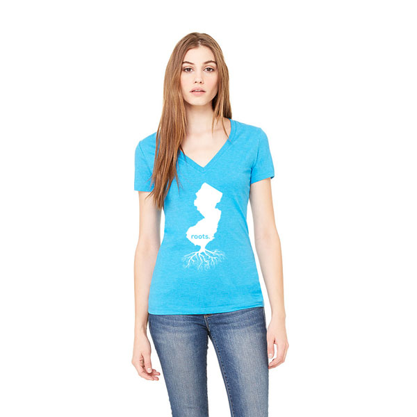 Jersey Roots Ladies T-shirt design - Aqua V-neck