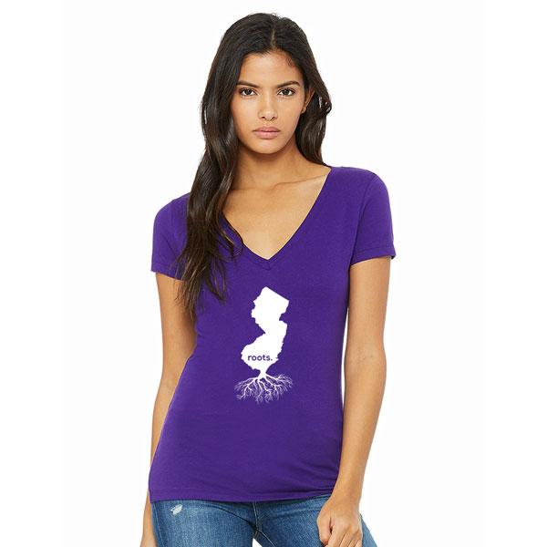 Jersey Roots Ladies T-shirt design - Purple V-neck