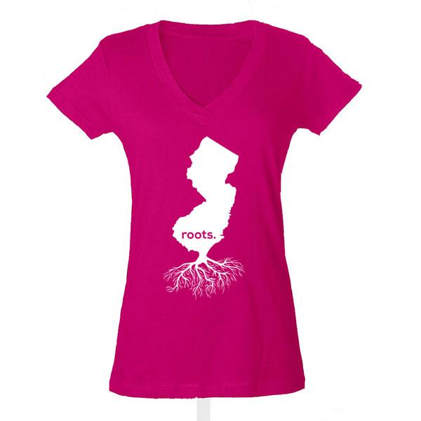 Jersey Roots Ladies T-shirt design - Pink V-neck