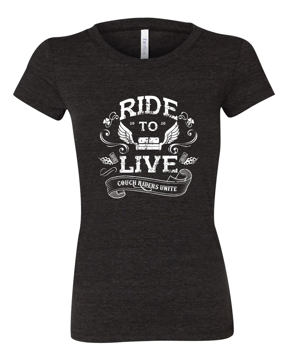 Ride to Live, Couch Riders Unitie Ladies T-Shirt Design.