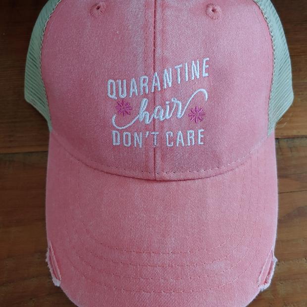 Quarantine Hair Don't Care Coral Cap
