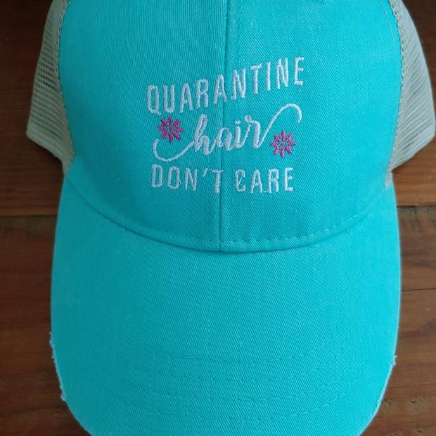 Quarantine Hair Don't Care Seafoam Cap