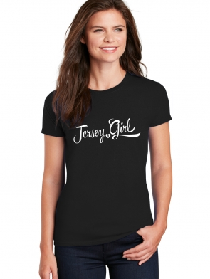 Jersey Girl Ladies T-shirt design, Black crew neck