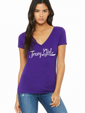 Jersey Girl Ladies T-shirt design, purple vneck