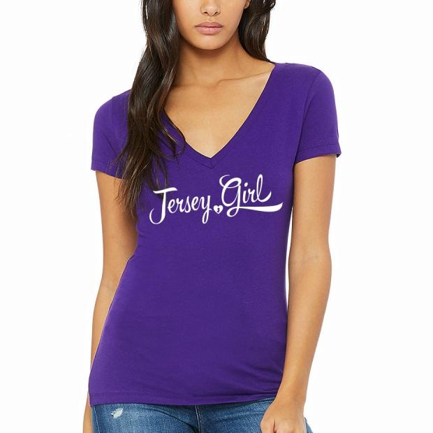 Jersey Girl Ladies T-shirt design, purple vneck