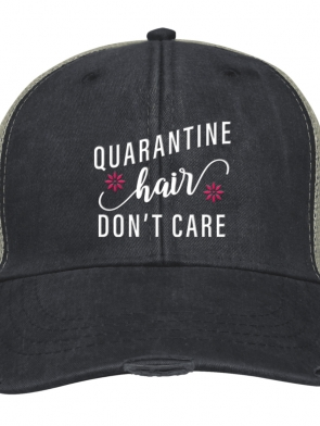 Quarantine Hair, Don't Care - Baseball Cap - Charcoal/Tan Mesh - OSFA