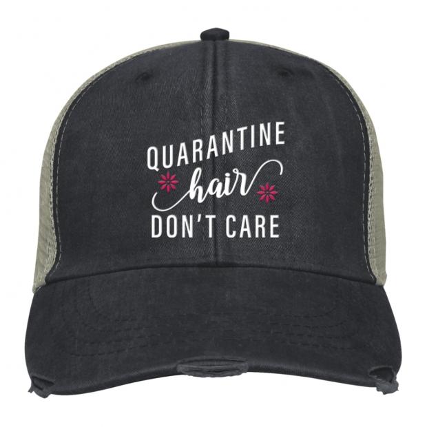 Quarantine Hair, Don't Care - Baseball Cap - Charcoal/Tan Mesh - OSFA