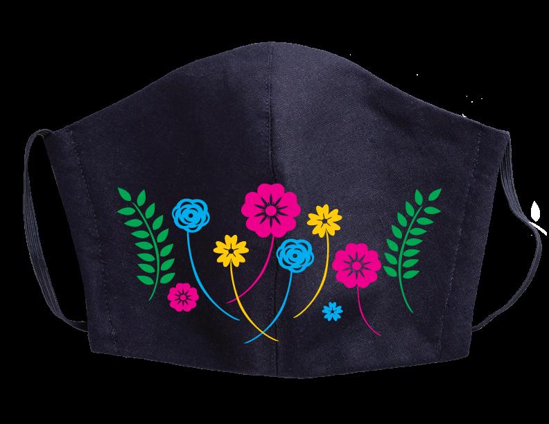 Stock Face Mask Design - Multi-color flowers